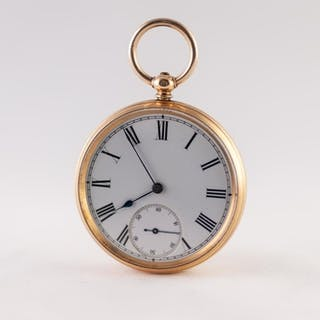 18k GOLD OPEN FACED POCKET WATCH, with keywind movement, whi...