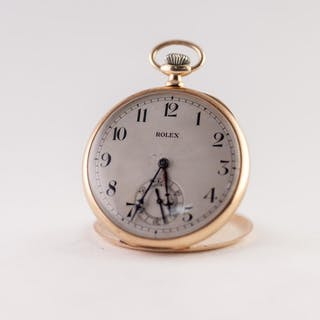 ROLEX 9ct GOLD OPEN FACED POCKET WATCH with keyless 15 jewel...