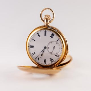 18k GOLD DEMI HUNTER MINUTE REPEATER POCKET WATCH WITH KEYLE...