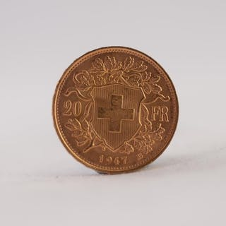 SWISS 1947 20 FRANC GOLD COIN, 7gms (EF)