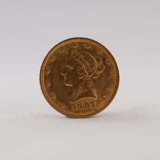 USA 1907 LIBERTY HEAD TEN DOLLAR GOLD COIN, 17gms (EF)