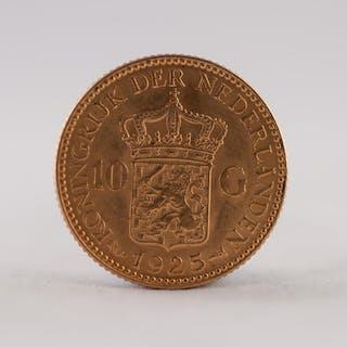 NETHERLANDS1925 TEN GUILDERS GOLD COIN, 7gms (EF)