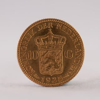 NETHERLANDS 1925 TEN GUILDERS GOLD COIN, 7gms (EF)