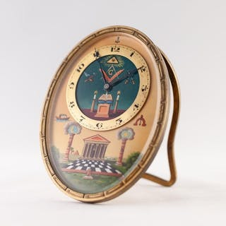 SWISS GILT BRASS MASONIC, SPRING DRIVEN STRUT CLOCK, oval wi...
