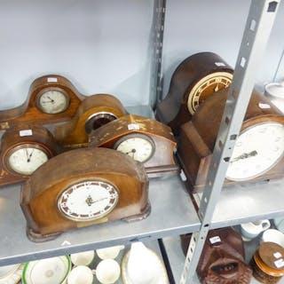 THREE, CIRCA 1920s MANTEL CLOCKS IN OAK NAPOLEON'S HAT FORM ...