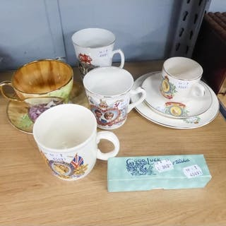SIX PIECES OF MODERN COMMEMORATIVE CHINA, A JAMES W TAYLOR D...