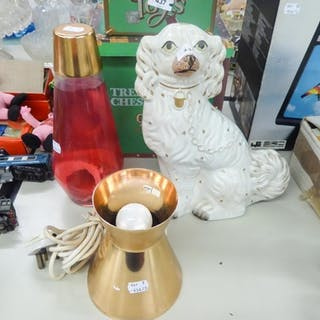 A STAFFORDSHIRE MANTEL CLOCK AND A LAVA LAMP