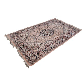 EWASTERN WOVEN WOOL LARGE BORDERED RUG WITH MEDALLION CENTRE...