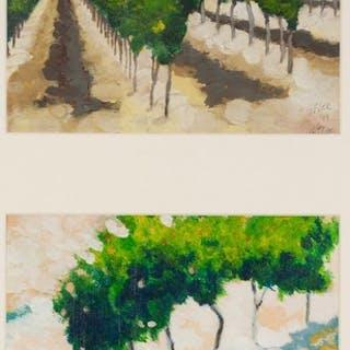 GRAHAM LEE (b.1953) TWO OIL PAINTINGS 'Vineyards, Provence...
