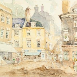 JEFFREY CULLEY (TWENTIETH CENTURY) WATERCOLOUR DRAWING 'She...