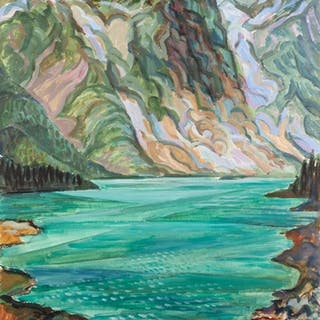 NORMAN C JACQUES (1926-2014) WATERCOLOUR Highland lake sce...