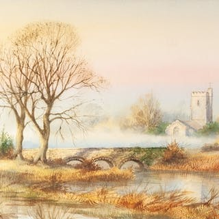 CLIVE PRYKE (1948-2017) PAIR OF WATERCOLOURS 'Stoke Canon,...