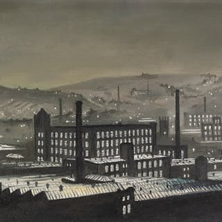 STEVEN SCHOLES (1952) OIL PAINTING ON CANVAS 'Mill Town at N...