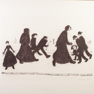 L.S. LOWRY (1887 - 1976) PRINT REPRODUCTION OF A CHARCOAL DR...