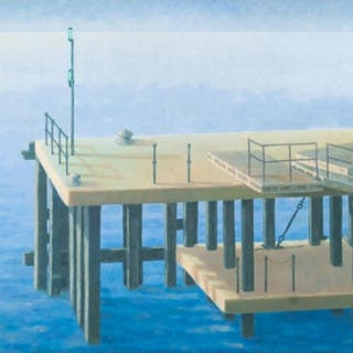 PETER ROEBUCK (1940-2012) OIL PAINTING ON BOARD 'The Jetty a...