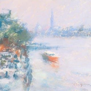 MARC GRIMSHAW (b.1957) PASTEL DRAWING Venetian lagoon scene...