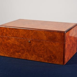 MODERN 'HILLWOOD' BURR WALNUT HUMIDOR, of typical form, with...