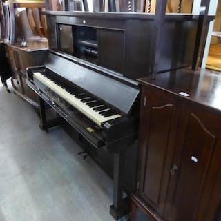 MARSHALL & ROSE, LONDON, DARK MAHOGANY PIANOLA WITH 74 PIANO...