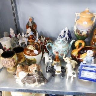 GROUP OF PORCELAIN ORNAMENTS TO INCLUDE MUSICAL FIGURE GROUP...
