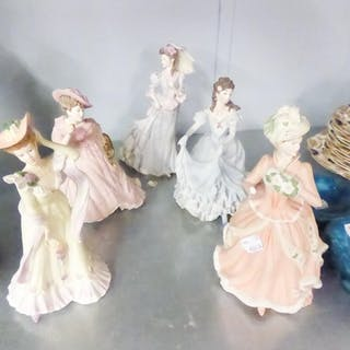 FOUR WEDGWOOD LADY FIGURINES AND A COALPORT EXAMPLE