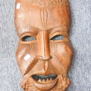 AN AFRICAN ABORIGINAL CARVED WOODEN MASK, MAN WITH LOWER FAN...