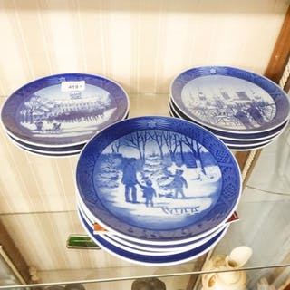 SET OF ELEVEN ROYAL COPENHAGEN BLUE AND WHITE PORCELAIN CHRI...