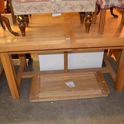 Modern Oak Draw Leaf Dining Table 2 Spare Leaves Barnebys