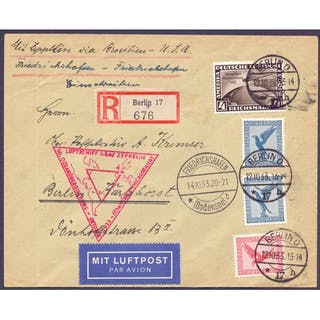 AIRMAIL COVER : GERMANY, 1933 Graf Zeppelin Chicago flight