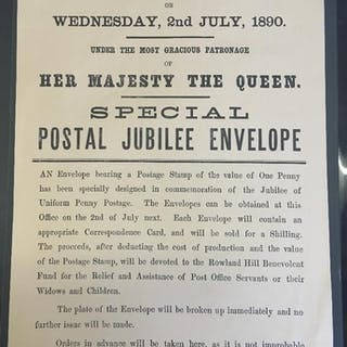 STAMPS EPHEMERA : 1890 Jubilee of Uniform Penny Post poster