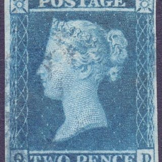STAMPS : GREAT BRITAIN : 1841 2d Blue plate 3 (QD), very fin...