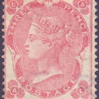 STAMPS : GREAT BRITAIN : 1862 3d Carmine Rose mounted mint, ...