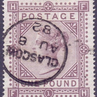 STAMPS : GREAT BRITAIN : 1878 £1 Brown Lilac, superb used ex...