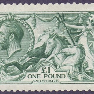 STAMPS : GREAT BRITAIN : 1913 £1 Dull Blue Green, superb unm...