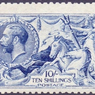 STAMPS : GREAT BRITAIN : 1915 10/- Deep Blue, superb unmount...