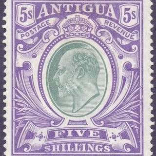 ANTIGUA STAMPS : 1907 5/- Grey-Green and Violet (chalky), mo...