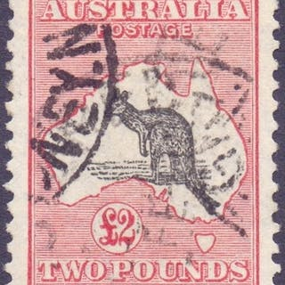 AUSTRALIA STAMPS : 1929 £2 Black and Rose, fine used SG 114