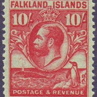 STAMPS FALKLANDS 1929 Whale and Penguins 10/- Carmine/Emeral...