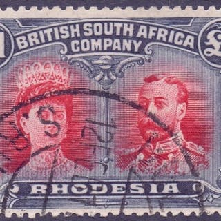 STAMPS : RHODESIA : 1910 £1 Rose-Scarlet and Blackish Blue, ...