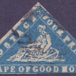 STAMPS : SOUTH AFRICA : 1861 4d Blue WOODBLOCK, fine used SG...