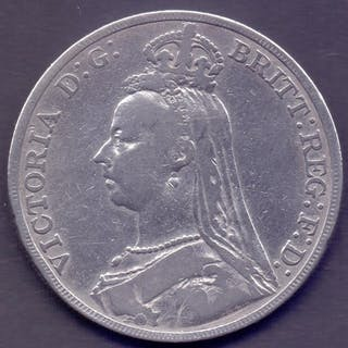COINS : 1889 GB Silver Crown fine to EF condition