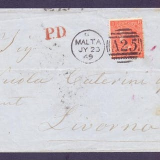 STAMP GREAT BRITAIN USED ABROAD : 1869 wrapper from Malta to...