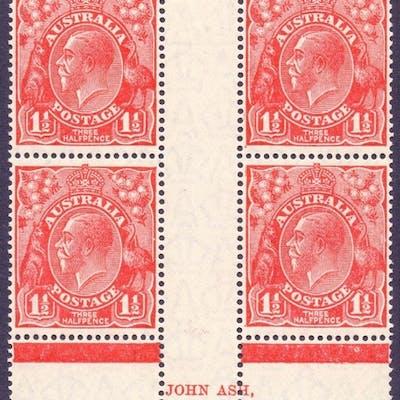 AUSTRALIA STAMPS : 1926 1 1/2d Scarlet perf 14, John Ash, li...