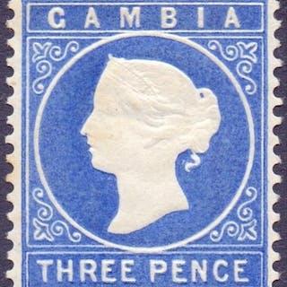 STAMPS : GAMBIA : 1880 3d Bright Ultramarine, SIDEWAYS Wmk, ...