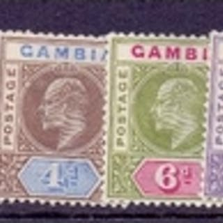STAMPS : GAMBIA : 1902 lightly mounted mint set to 3/- SG 45...