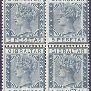 STAMPS : GIBRALTAR : 1859 5p Slate-Grey, unmounted mint bloc...