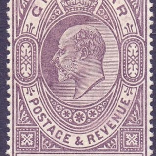 STAMPS : GIBRALTAR : 1903 4/- Dull Purple and Green, mounted...
