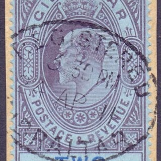STAMPS GIBRALTAR : 1910 2/- Purple and Bright Blue, fine use...