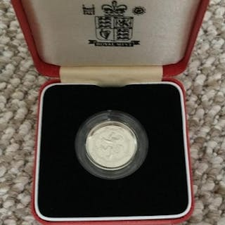 COINS : 1994 UK £1 Piedfort silver proof coin in display box