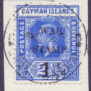 STAMPS : CAYMAN ISLANDS : 1917 1 1/2d on 2 1/2d Deep Blue WA...