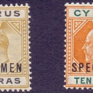 STAMPS : CYPRUS : 1904 5pa Bistre Black together with 10pa O...